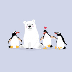 Cute polar bear and penguins cartoon vector. Animal wildlife character.