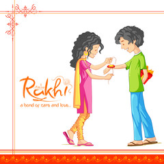 Brother and Sister tying rakhi on Raksha Bandhan, Indian festival