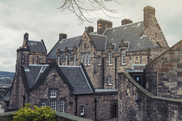 Old building of Edinburgh Castle Hospital located at the west courtyard inside Edinburgh Castle, popular tourist attraction and landmark of Edinburgh, Scotland, UK