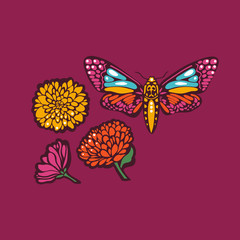 Butterflies moths and flowers marigolds. Mexican Day of the Dead. Vector illustration.
