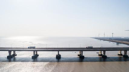 aerial view of cross-sea bridge, the donghai bridge