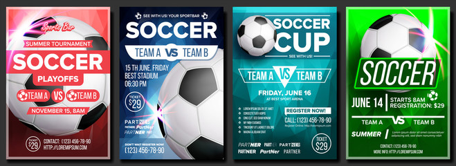 Soccer Game Poster Set Vector. Modern Soccer Tournament. Design For Sport Bar, Pub Promotion. Football Ball. Sport Event. Competition Announcement. Banner Advertising. Template Illustration