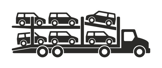 Car carrier truck icon, Monochrome style. isolated on white background
