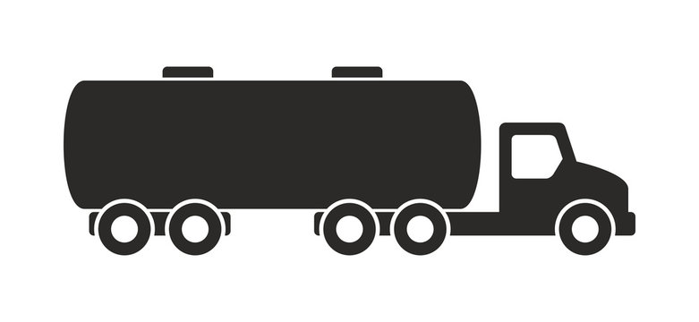 Tanker truck icon, Monochrome style. isolated on white background