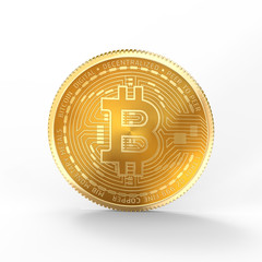 3D Bitcoin isolated on white background with clipping path.