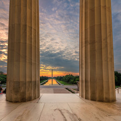 The Lincoln Memorial at Sunrise on the National Mall in Washington DC
