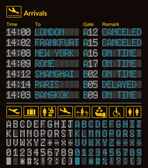 Realistic LED digital board airport template. Vector 3D white and blue LED digital font with alphabet and numbers on dark background eps. yellow airport information logo sign