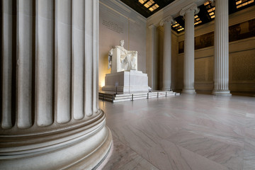The Lincoln Memorial indoors at Sunrise on the National Mall in Washington DC