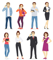 People with gadgets set isolated vector illustration