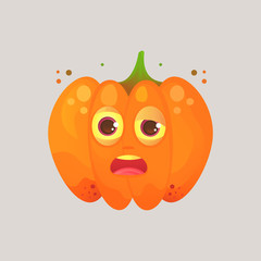 Character cartoon pumpkin. Emotional icon. Drunk, sleepy, tired with squinted eyes, in perplexity. To the day of the Halloween. Stickers for messenger and other communications.