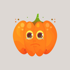 Character cartoon pumpkin. Emotional icon. Annoyance, crying, tears in my eyes. To the day of the Halloween.  Cartoon style. Sticker for messengers and other communications.