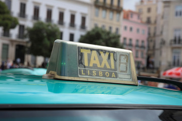Taxi in Lisbon, the capital city of Portugal. Europe