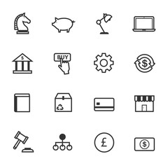 Business and Finance, Office Marketing Items Icons, Vector Illustration Design