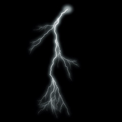 Lightning Isolated over Black Background