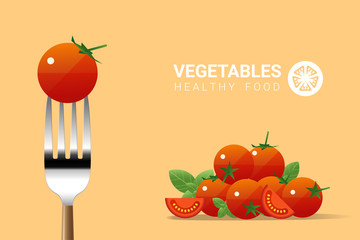 Fresh tomato on fork with pile of tomatoes background , healthy food concept , vector , illustration