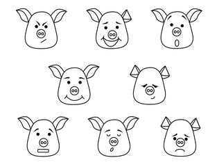 Pig head with different emotions, meme, icon. Single, vector images. Black outline.