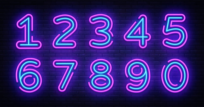 Number symbols collection neon sign vector. Design element number template neon icon, light banner, neon signboard, nightly bright advertising, light inscription. Vector illustration