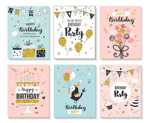 Happy birthday greeting card and party invitation templates, vector illustration, hand drawn style.
