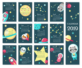 Calendar 2019 vector template with space animals