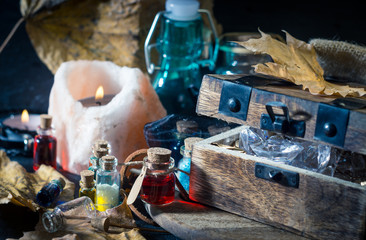 Magic concept. Potions in bottle