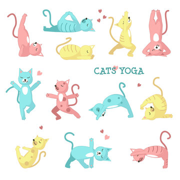Cats doing yoga poses vector illustration