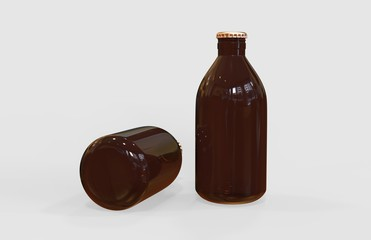 Cold Brew Coffee Bottle Mock-Up On Isolated White Background, 3D Illustration