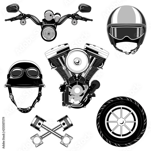 Set Of Vector Images Of Motorcycle Parts And Helmets Stock Image