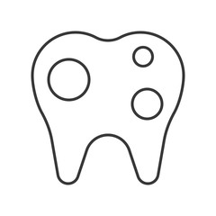 Tooth decayed, simple outline icon