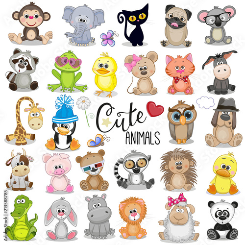 Set Of Cute Cartoon Animals Stock Image And Royalty Free Vector