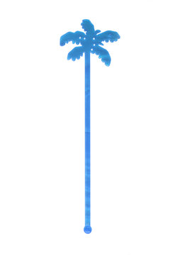 Blue Cocktail Stirrer on the white background
