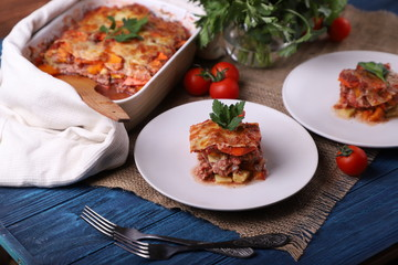 italian lasagna with meat and cheese