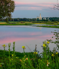 Russian landscape. Russia Great Novgorod. View of the St. George Monastery