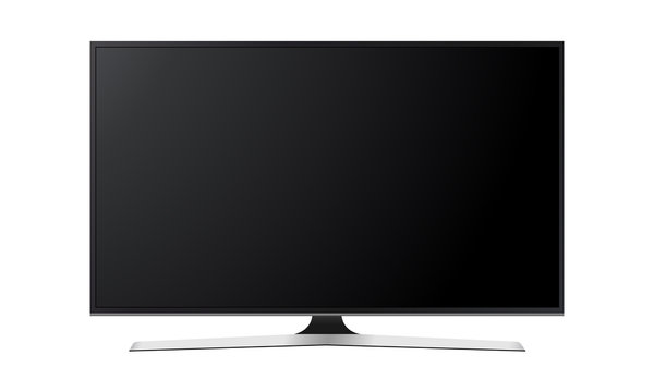 Wide television screen mock up isolated on white background. Vector illustration
