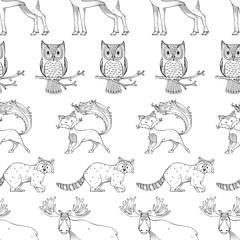 Wild animals. Vector seamless pattern.