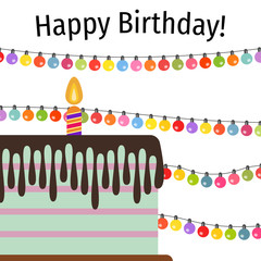 Greeting Card with Sweet Cake for Birthday Celebration. Vector illustration
