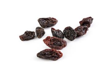 Dark raisins isoalted on white background