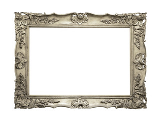 Silver vintage picture and photo frame isolated on white background