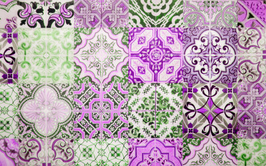 Vintage purple ceramic tiles wall decoration.Turkish ceramic tiles wall background