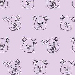Seamless pattern. Pig head with different emotions, meme, icon. Single, vector images. Black outline.