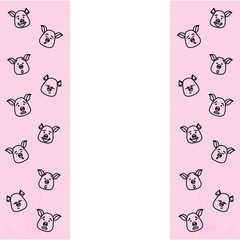 Pattern of pig head with different emotions, meme, icon. Single, vector images. Black outline on pink background.
