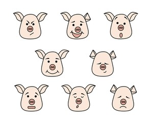 Pig head with different emotions, meme, icon. Single, vector images. Black outline. Pink color
