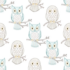 Vector outline seamless pattern.