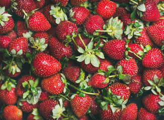 Fresh strawberry texture, wallpaper and background. Flat-lay of wet strawberries with leaves, top view. Summer food or local market produce concept