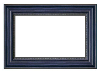 Vintage blue wood picture frame isolated on white background
