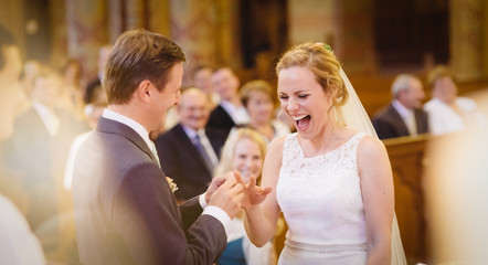 Bride Smiling Happiness At Own Wedding, Groom Putting Ring, Crowd Happy