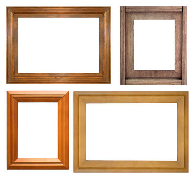 collection of wood picture frame isolated on white background.