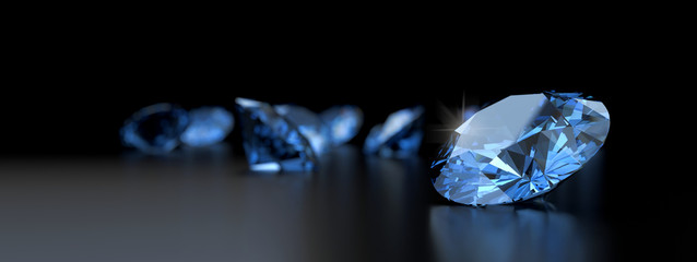 Blue diamonds placed on reflection background 3d rendering.