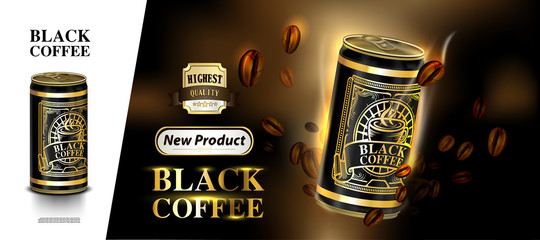 Tin can and label of coffee beans with lighting background