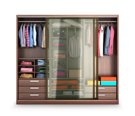 Wardrobe, wardrobe compartment with clothes, isolated on a white background. 3d illustration