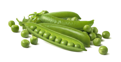 Fresh green peas in pods and separate beans